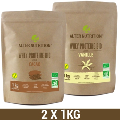 lot de 2 proteine whey bio 1 kg alter nutrition