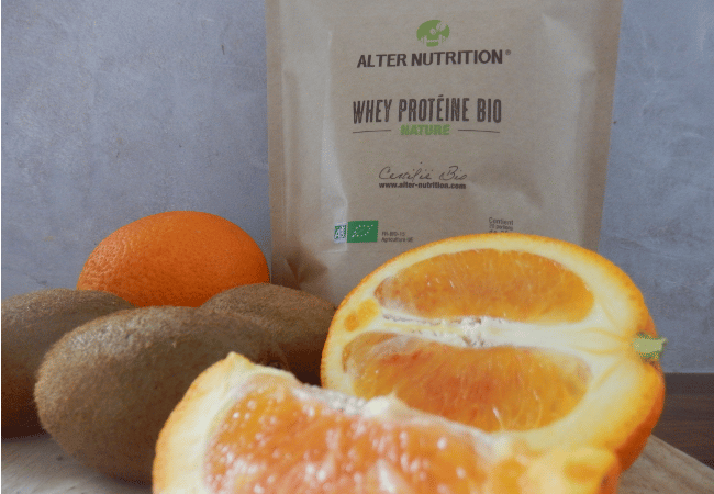 smoothie orange kiwi à la protéine whey bio