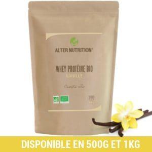 Whey proteine en poudre bio vanille 1kg et illustration