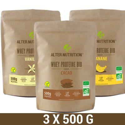lot de whey proteine bio 3x500g