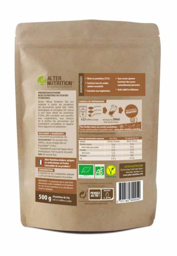 whey proteine bio cacao verso