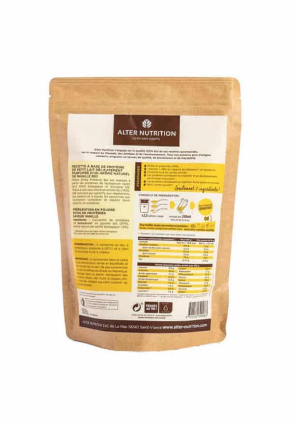 whey proteine en poudre bio vanille 500g v