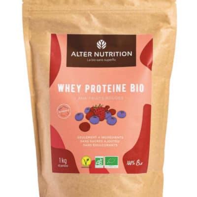 whey proteine bio fruits rouges poudre 1kg
