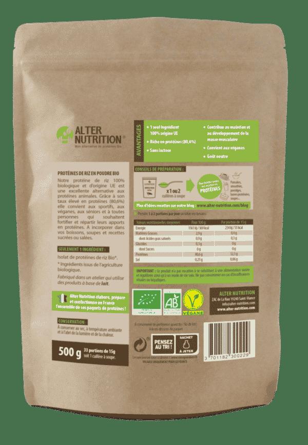 proteines de riz bio alter nutrition verso