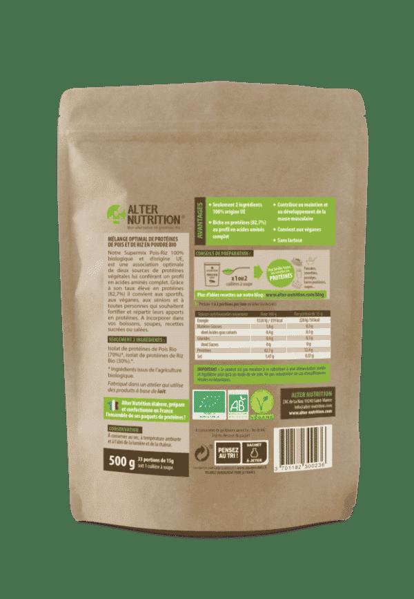 proteines vegetales supermix pois riz bio 500g verso