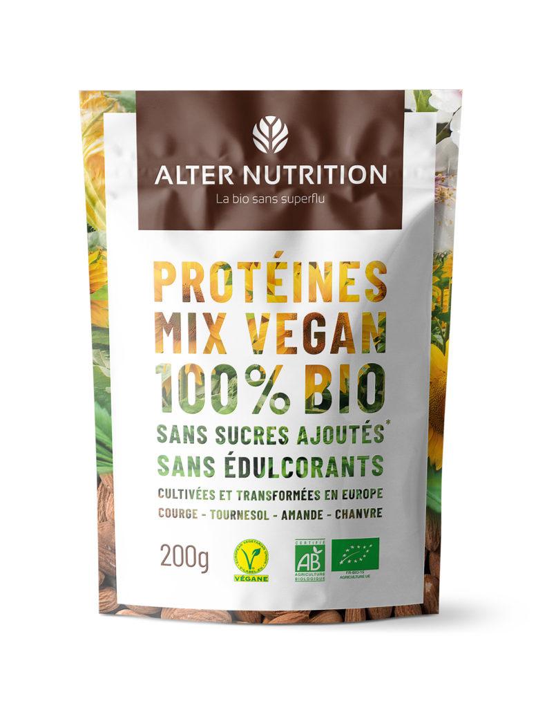 protéines végétales bio sans sucres ajoutés ni édulcorants