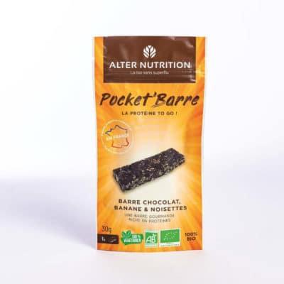 Barre protéinée bio chocolat, banane et noisettes 30g | Pocket'barre