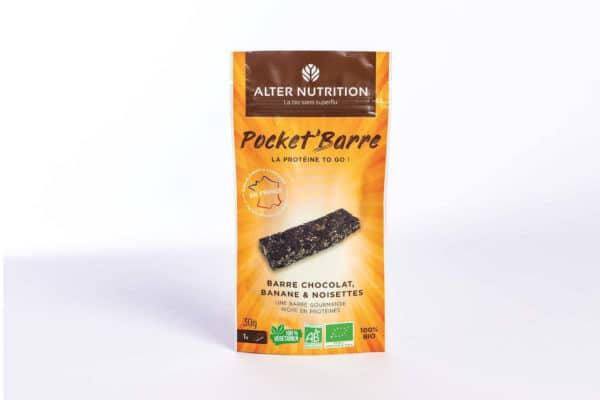 Barre protéinée bio chocolat, banane et noisettes 30g   Pocket'barre