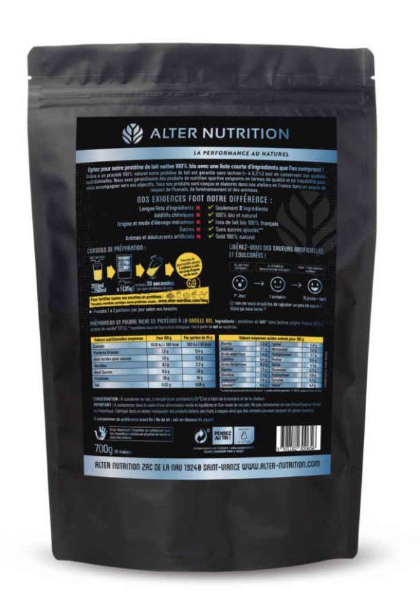 proteine native bio sans lactose vanille dos