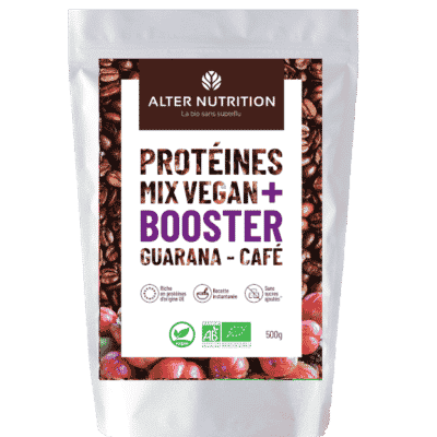 Protéines Mix vegan bio Booster guarana café
