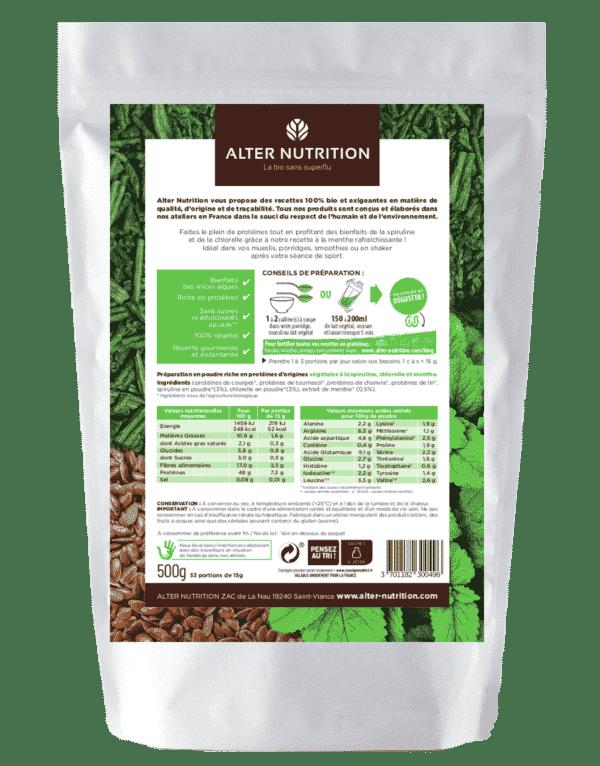 protéine Mix vegan bio Green spiruline chlorelle menthe bio verso