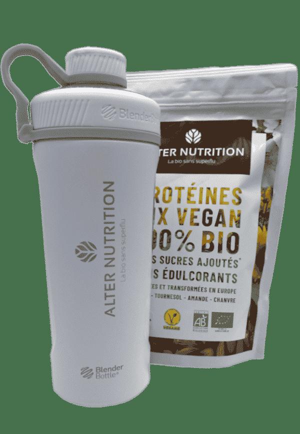 Shaker en inox pour protéines blanc avec sachet mix