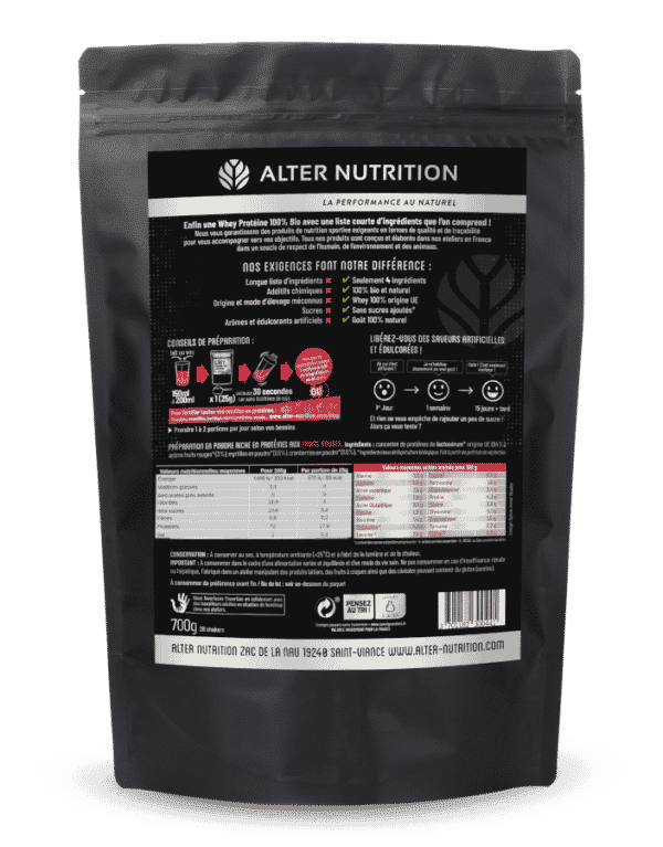 Whey proteine native bio fruits rouges